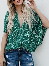 V-Neck Floral Batwing Sleeve Loose Women's T-Shirt