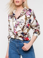 Geometric Chain Print Mid-Length Women's Shirt