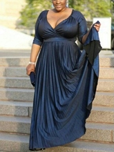 Pleats Half Sleeve Plus Size Mother of the Bride Dress