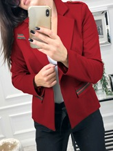 Stripe One Button Notched Lapel Women's Casual Blazer
