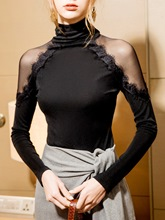 Slim Turtleneck Mesh See-Through Sexy Women's T-Shirt