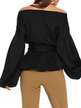V-Neck Lantern Sleeve Plain Off Shoulder Women's Blouse