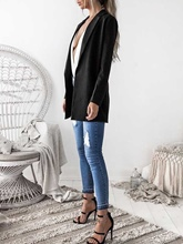 Notched Lapel Plain Mid-Length Spring Women's Blazer