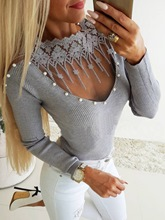 Lace Beading See-Through Women's Sweater