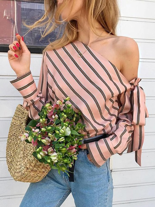 Stripe Bowknot Oblique Collar Off Shoulder Women's Blouse