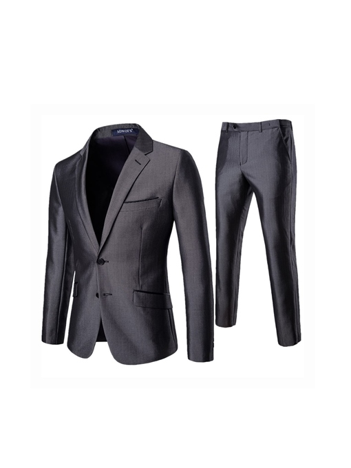 Single-Breasted Formal Pocket Plain Men's Dress Suit