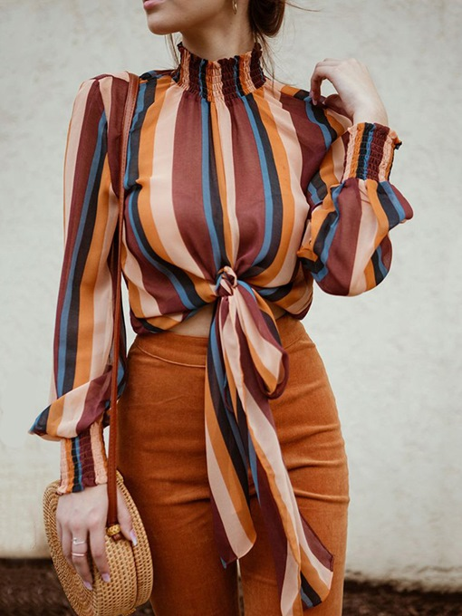 Loose Color Block Stripe Lace-Up Women's Blouse