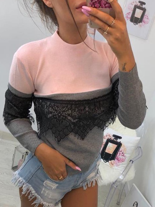 Color Block Lace Stand Collar Women's T-Shirt