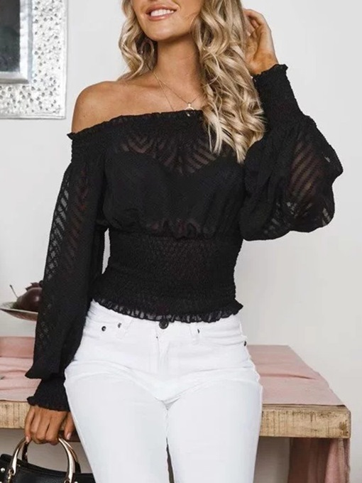 Plain Off Shoulder Chiffon Pleated Women's Blouse
