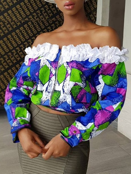 Color Block Off Shoulder Lace Zipper Cropped Women's Blouse