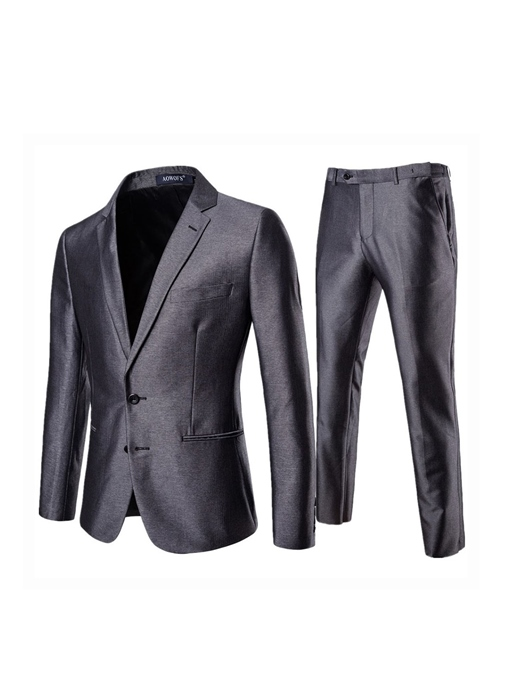 Single-Breasted Plain Pocket Formal Men's Dress Suit