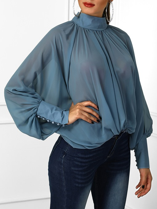 African Fashion Chiffon Loose Turtleneck Batwing Sleeve Plain Women's Blouse