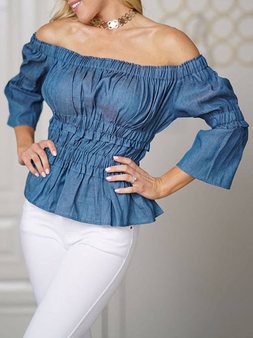 Off Shoulder Flare Sleeve Plain Denim Women's Blouse