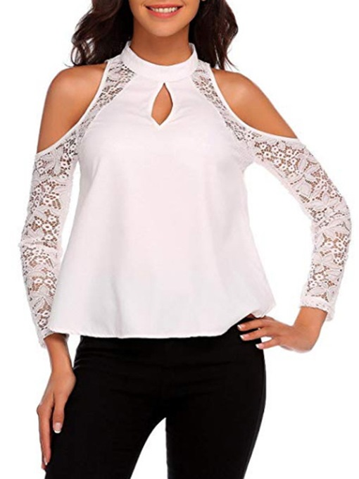 Stand Collar Cold Shoulder Lace Women's T-Shirt