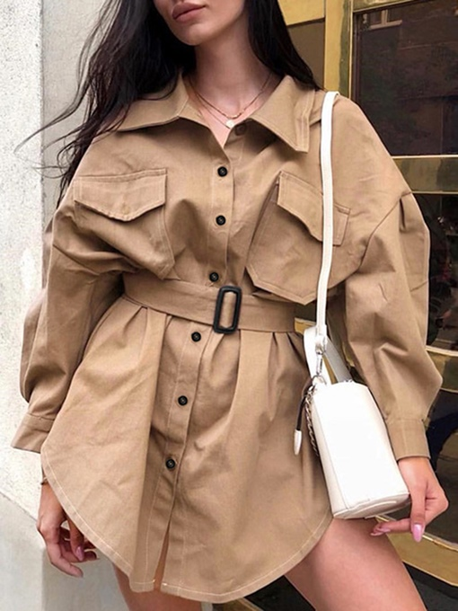 Lapel Dual Pockets Belt-Included Camel Women's Trench Coat