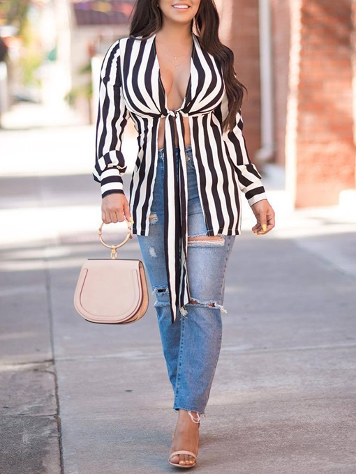 Color Block Stripe Lace-Up Women's Blouse