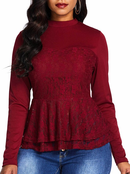 Plain Round Neck Lace Peplum Women's Blouse