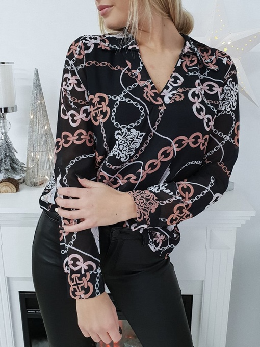 V-Neck Chain Print Loose Women's Blouse