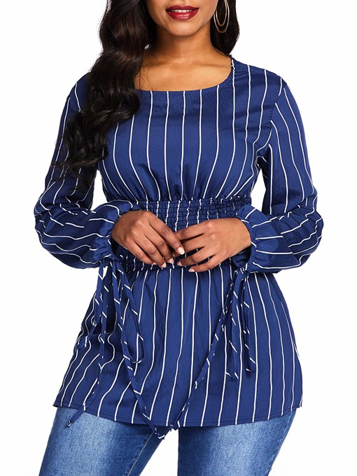 Slim Stripe Round Neck Lace-Up Women's Blouse