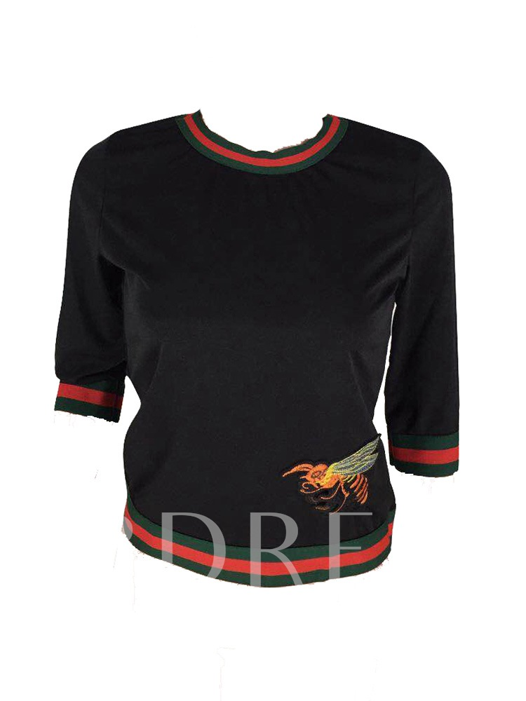 Three-Quarter Sleeve Stripe Bee Embroidery African Fashion Women's T-Shirt