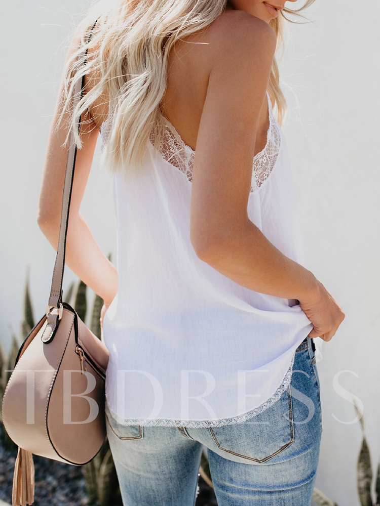 Loose Chiffon Lace Backless Women's Tank Top