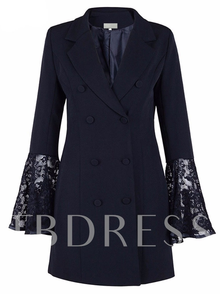 Double-Breasted Lace Flare Sleeve Women's Blazer