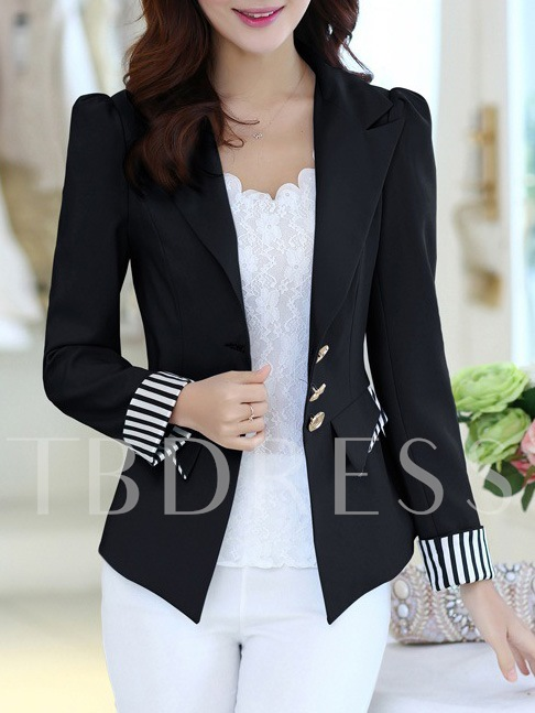 Notched Lapel Single-Breasted Stripe Casual Women's Blazer