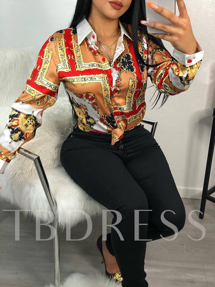 Lapel African Fashion Color Block Floral Print Women's Shirt