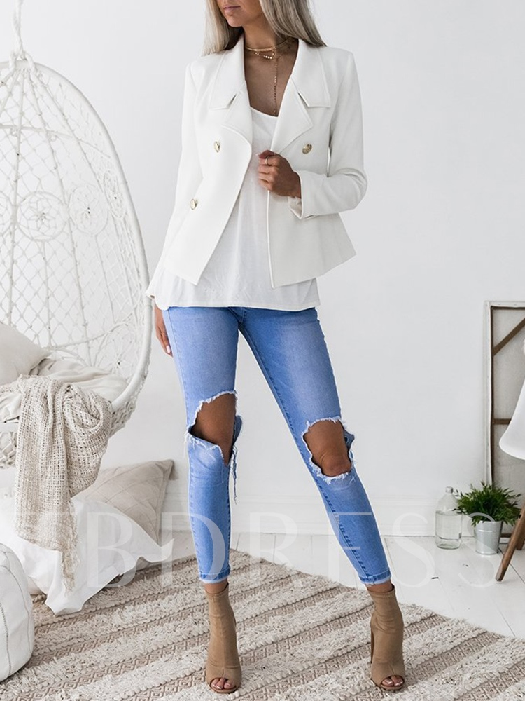 Slim Plain Notched Lapel Double-Breasted Women's Casual Blazer