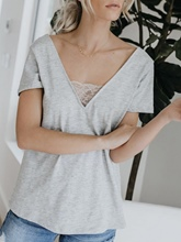 V-Neck Plain Lace Backless Women's T-Shirt