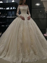 Off-The-Shoulder Long Sleeves Appliques Ball Gown Wedding Dress 2019