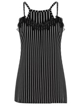 Summer Spaghetti Straps Lace Stripe Women's Tank Top