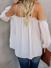 Loose Plain Cold Shoulder Backless Women's Blouse