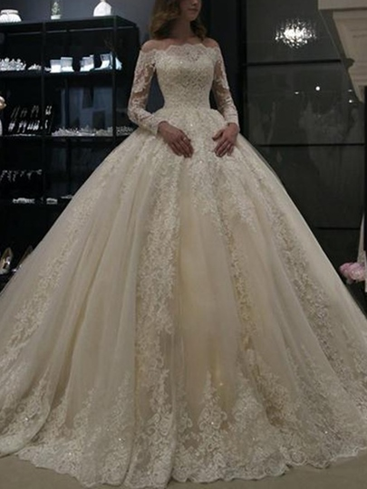 Off-The-Shoulder Long Sleeves Appliques Ball Gown Wedding Dress 2019 Off-The-Shoulder Long Sleeves Appliques Ball Gown Wedding Dress 2019