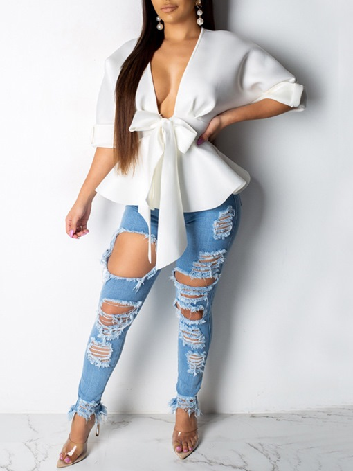 Deep V-Neck Plain Bowknot Peplum Women's Blouse