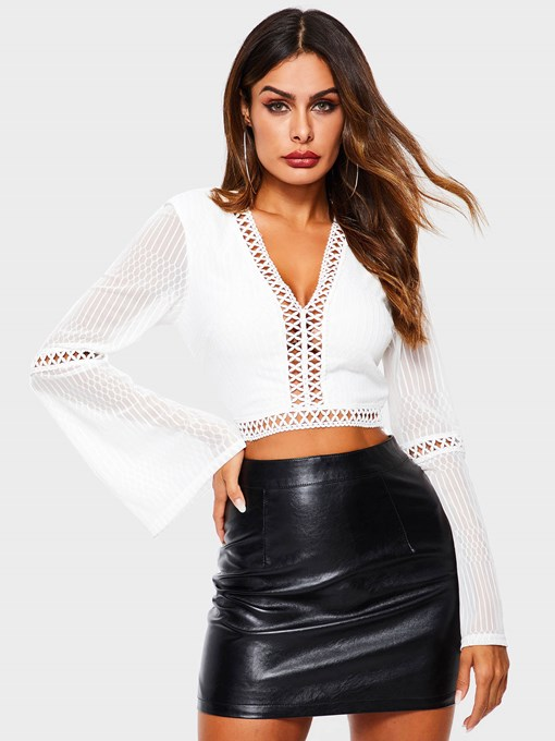 Flare Sleeve Plain V-Neck Cropped Women's Blouse