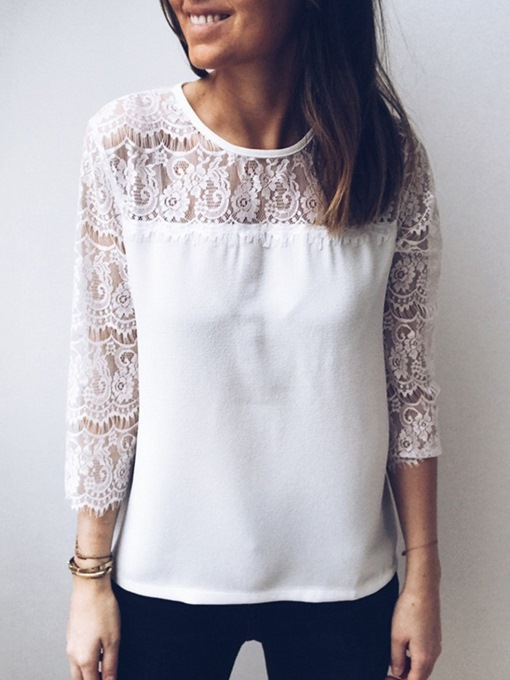 Lace Patchwork See-Through Hollow Women's Blouse