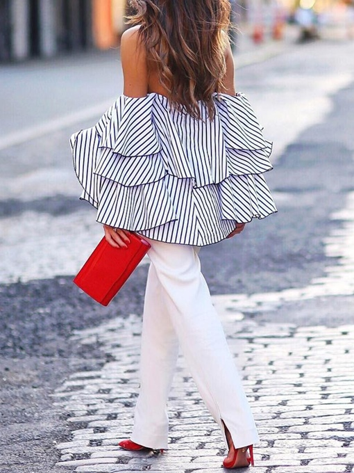 Stripe Ruffle Sleeve Off Shoulder Women's Blouse