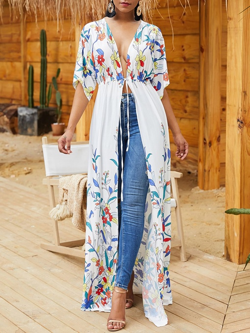 Floral Print African Fashion V-Neck Half Sleeve Long Women's Cape