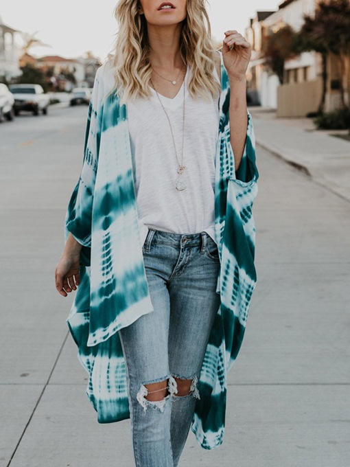 Loose Tie-Dye Chiffon Asymmetric Women's Cape
