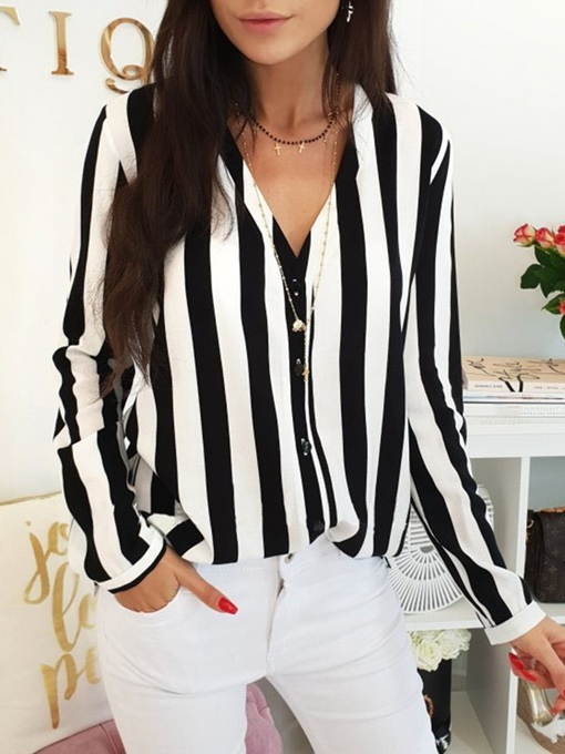 V-Neck Stripe Single-Breasted Women's Shirt