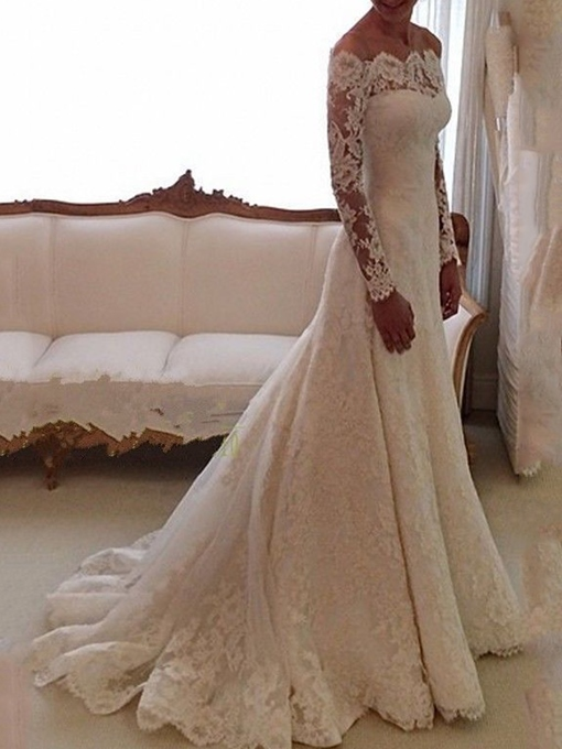 Off the Shoulder Lace Long Sleeves Wedding Dress