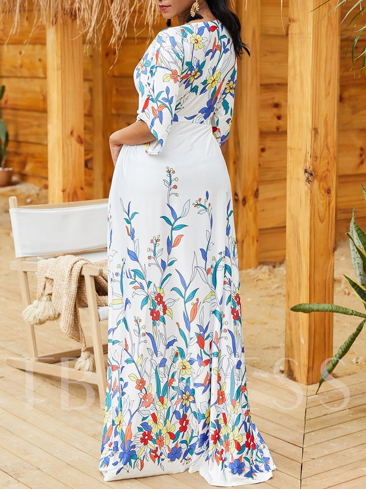 Floral Print V-Neck Half Sleeve Long Women's Cape