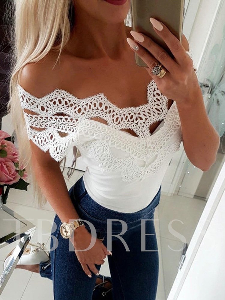 Lace Hollow Off Shoulder Women's T-Shirt
