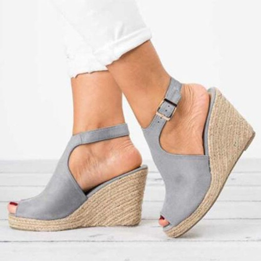 Buckle Wedge Heel Peep Toe Women's Sandals