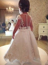 Cap Sleeves A-Line Appliques Pearls Flower Girl Dress