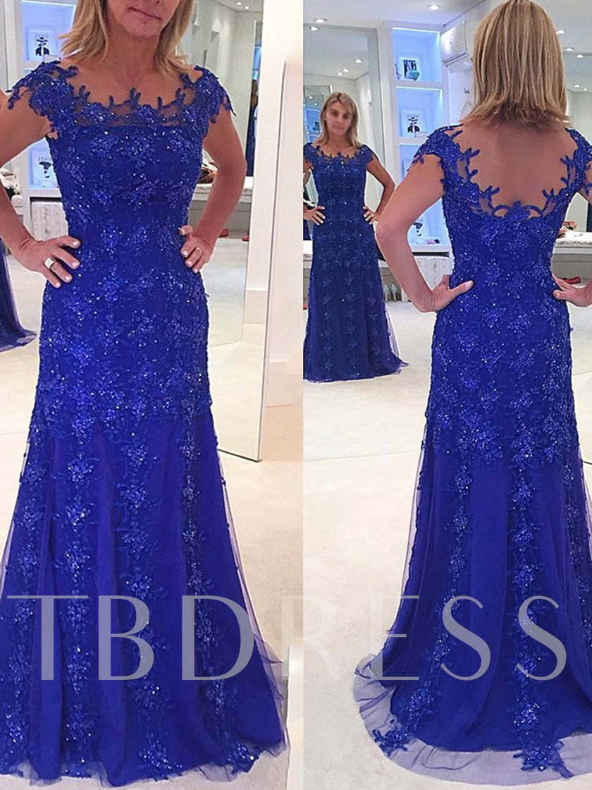 Sheath Cap Sleeves Appliques Sequins Mother of the Bride Dress