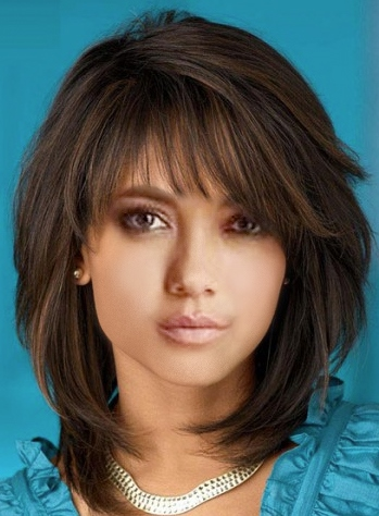 Women's Natural Straight Medium Hairstyles Wigs 100% Human Hair Lace Front Wigs 16Inch