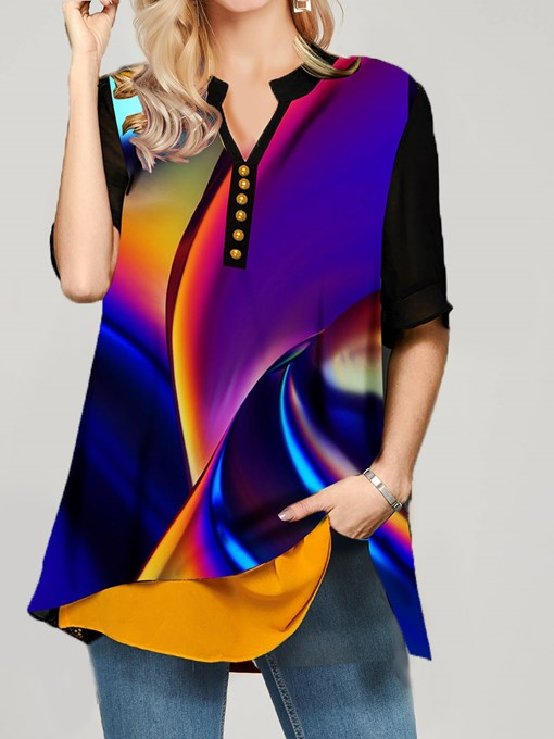 Patchwork Stand Collar Color Block Half Sleeve Women's Blouse