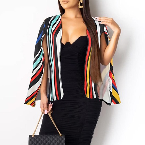 Stripe Polyester Fall Women's Cape